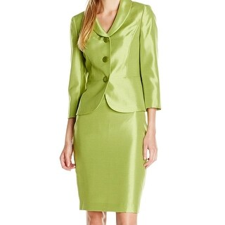 Le Suit NEW Green Palm Women's 6 Shawl-Collar Shantung Skirt Suit Set