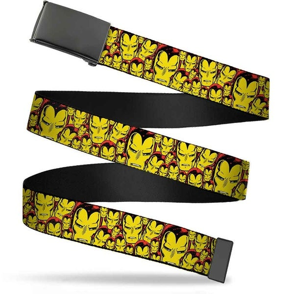 Blank Black Buckle Iron Man Face Close Up Stacked Webbing Web Belt