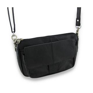 Black Napa Leather Shoulder Bag Satchel Ride Bag Biker