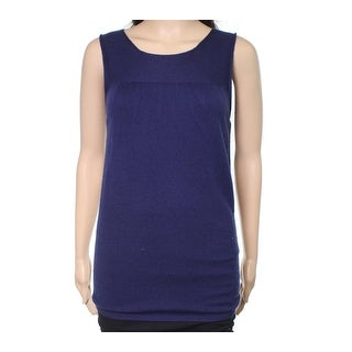 Escada NEW Navy Blue Velvet Womens Size XL Seamed Wool Knit Tank Top