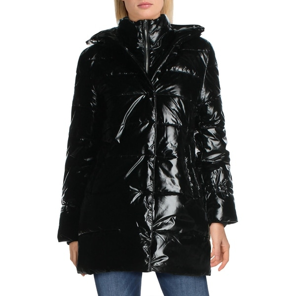 Betsey Johnson Women's Glossy Quilted Long Winter Puffer Coat - Black. Opens flyout.