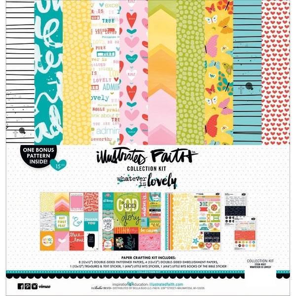 """Illustrated Faith Collection Kit 12""""X12""""-Whatever Is Lovely"""