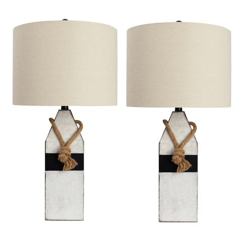 Brendan Resin and Rope Buoy Table Lamp - Set of 2