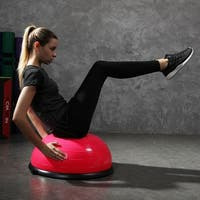 Costway 23'' Pink Yoga Ball Balance Trainer with Pump Home Exercise Training Fitness