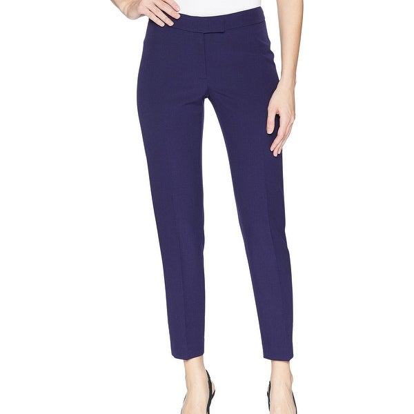 Anne Klein Dark Purple Womens Size 12 Flat-Front Dress Pants