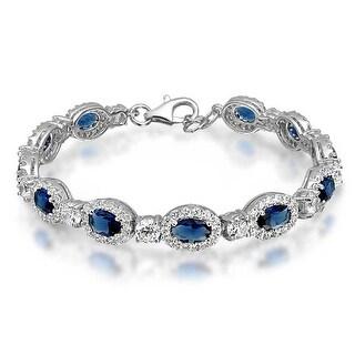 Bling Jewelry 925 Sterling Silver Vintage Style Oval Blue CZ Pave Tennis Bracelet