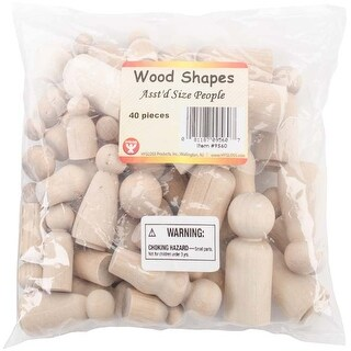 Assorted Shapes & Sizes - Wood People 40/Pkg