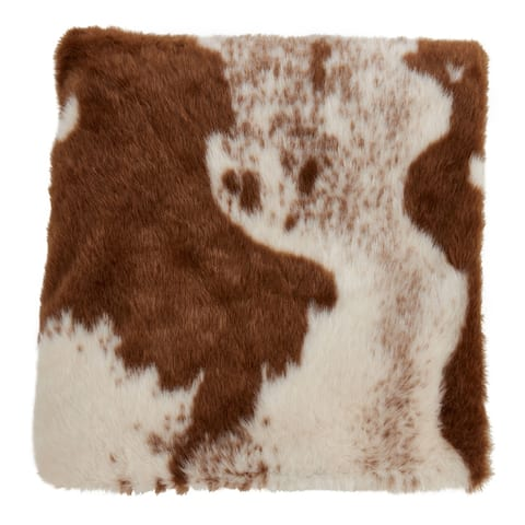 Faux Fur Throw With Cow Hide Design