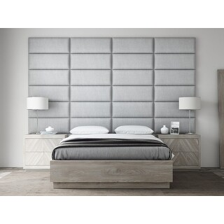 "VANT Upholstered Headboards - Accent Wall Panels - Packs Of 4 - Textured Cotton Weave Gray Mist - 30"" Wide x 11.5"" Height."