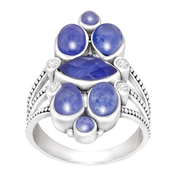 Sajen Natural Sodalite & Mother-of-Pearl Triplet Ring in Sterling Silver