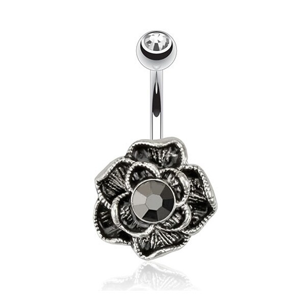 Flower Vintage Hematite with Gem Navel Belly Button Ring 316L Surgical Steel