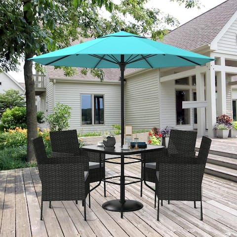 Amarantos Outdoor 6-piece Wicker Dining Set with Patio Umbrella