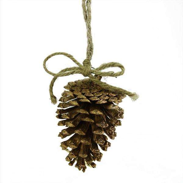 "5"" Luxury Lodge Shimmering Bronze Tone Pine Cone Christmas Ornament"