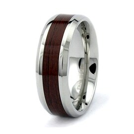 8mm Stainless Steel Ring with Wood Inlay (Sizes 8-12 )