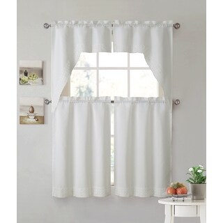 Eleanor 4-Piece Macrame Kitchen Curtain Tier & Swag Set, Beige, 27x36 Inches