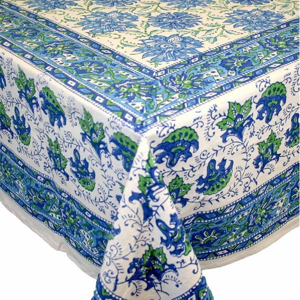 Handmade Lotus Flower Block Print 100% Cotton Tablecloth Blue 60x90 Inches  Rectangular 72 Inch Round