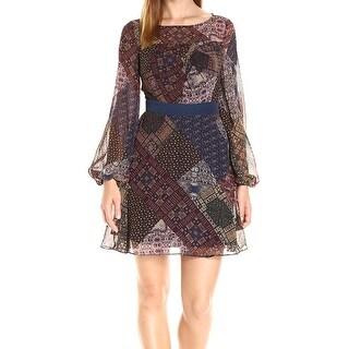 BCBG Generation NEW Brown Womens Size 6 Pleated Printed Sheath Dress