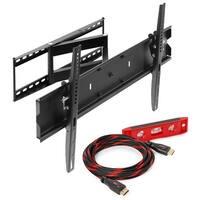 Articulating TV Wall Corner Tilt Tilting Mount Bracket w/ HDMI cable - black