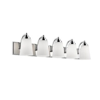 "Millennium Lighting 1445 5 Light 36"" Wide Bathroom Vanity Light with Glass Shades"