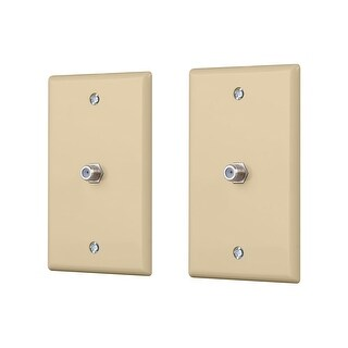 Monoprice Cable TV Jack Wall Plate - Ivory (2 pack)