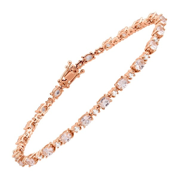 6 1 5 Ct Simulated Morganite Tennis Bracelet With Cubic Zirconia In 14k Rose Gold