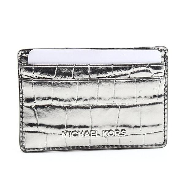 Michael Kors NEW Silver Metallic Gunmetal Cardholder Mini Slim Wallet