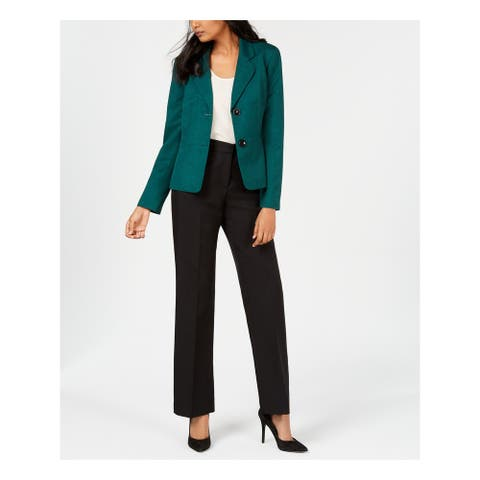 LE SUIT Womens Green Straight leg Wear To Work Pant Suit Size 16
