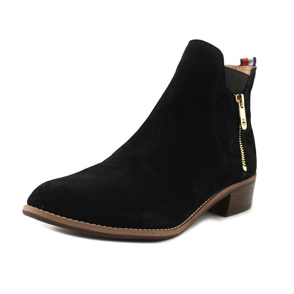Tommy Hilfiger Taliana Women Pointed Toe Suede Black Ankle Boot