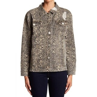 Ashley Mason Brown Womens Size Large L Animal-Print Denim Jacket