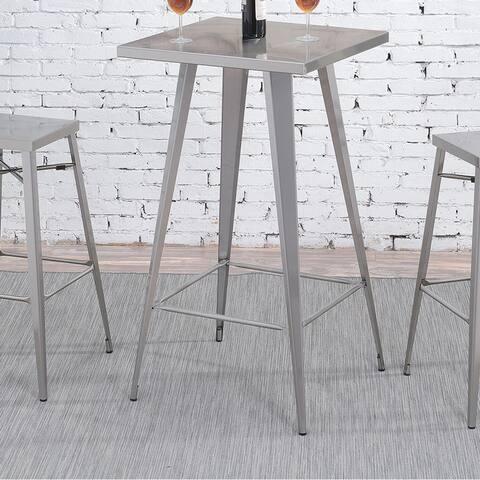 Furniture of America Jopp Industrial Grey Metal Square Tall Bar Table