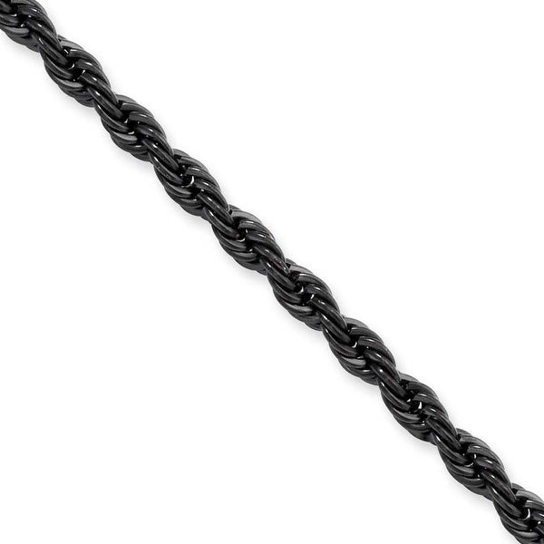 Stainless Steel IP Black-plated 4.0mm 24in Rope Chain (4 mm) - 24 in