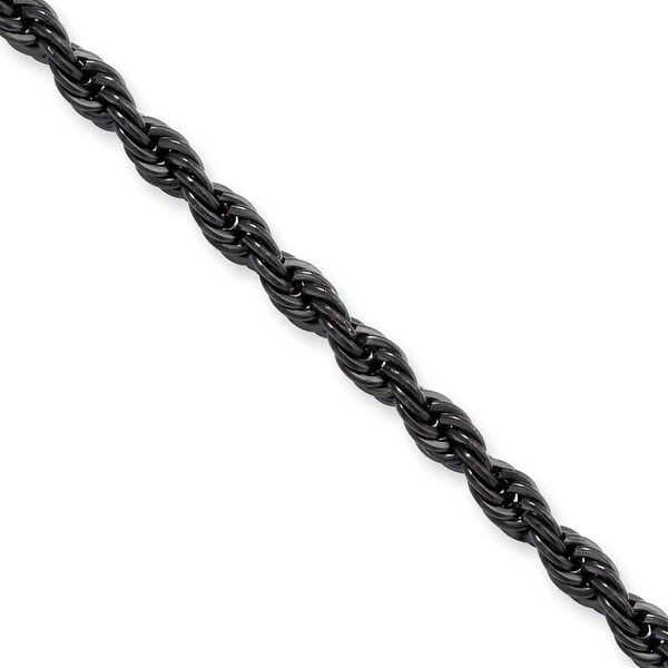 Stainless Steel IP Black-plated 4.0mm 30in Rope Chain (4 mm) - 30 in