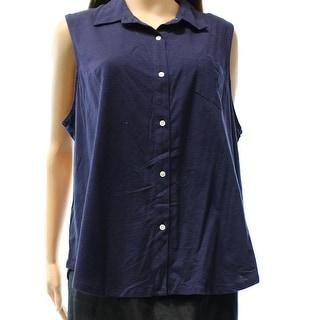 Lauren Ralph Lauren NEW Blue Women's Size XL Buttoned Tank Cami Top