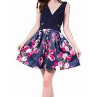 Xscape Pink Women's Floral Pleated A-Line Dress