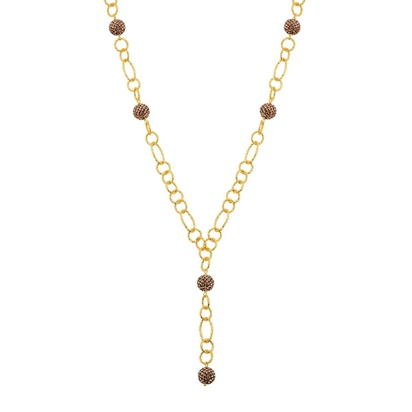 Crystaluxe Beaded Lariat Necklace with Brown Crystals in 18K Gold-Plated Bronze, 22 Inches. Opens flyout.