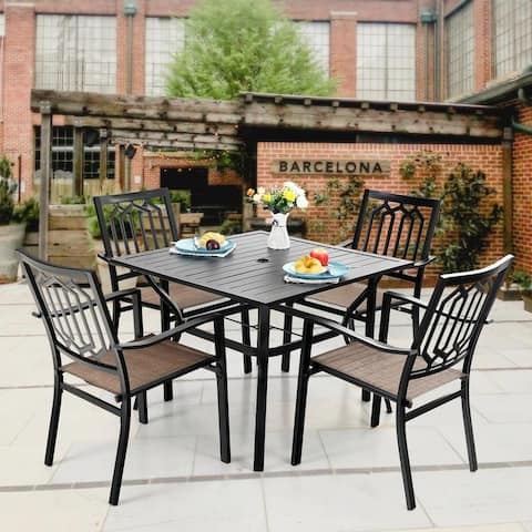 MFSTUDIO 5 Pieces Dining Set with 4 Metal Chairs of Textilene Seat and 1 Square Table with Umbrella Hole