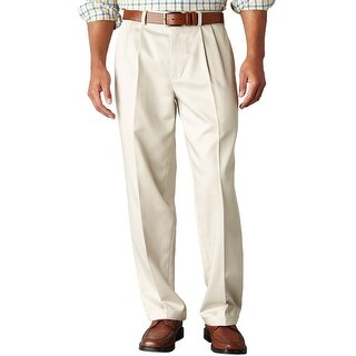Dockers Big and Tall Essential Khaki Relaxed Pleated Chinos Pants Sand 42 x 32
