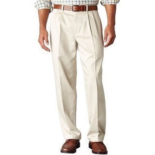 Dockers Essential Khaki Relaxed Fit Pleated Front Chinos Pants Sand 31 x 30