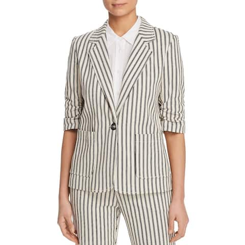 Karen Kane Womens Blazer Striped Ruched Sleeve - Ivory/Black