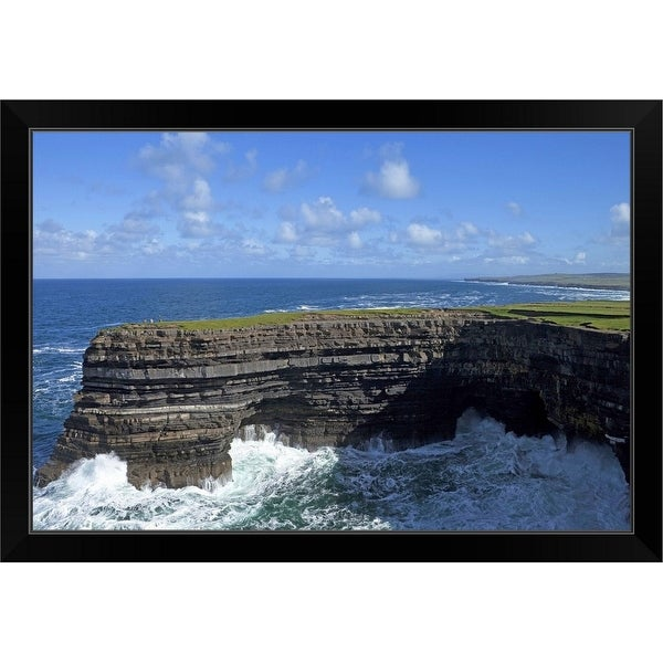"""Sea Anglers fishing off the Cliffs of Downpatrick Head, County Mayo, Ireland"" Black Framed Print"
