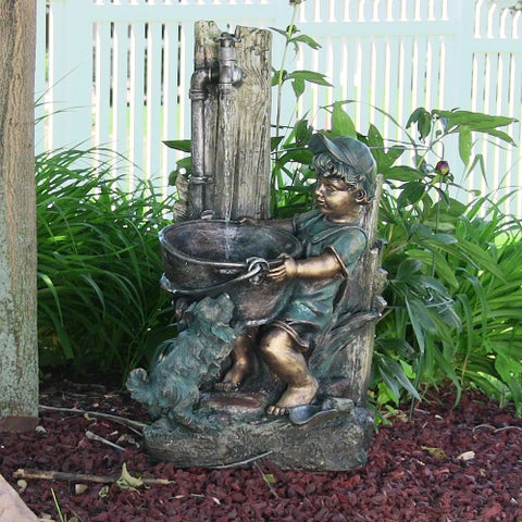 Sunnydaze Boy & Dog Fetching Water Outdoor Fountain with LED Lights 30 Inch Tall