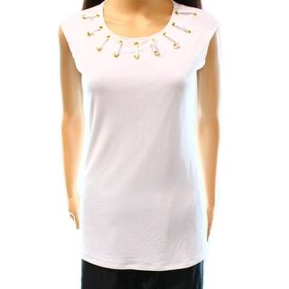 INC NEW White Bright Women's Size Large L Lace Up Grommet Blouse