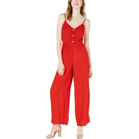 Planet Gold Womens Juniors Jumpsuit Smocked Wide Leg - Chinese Red