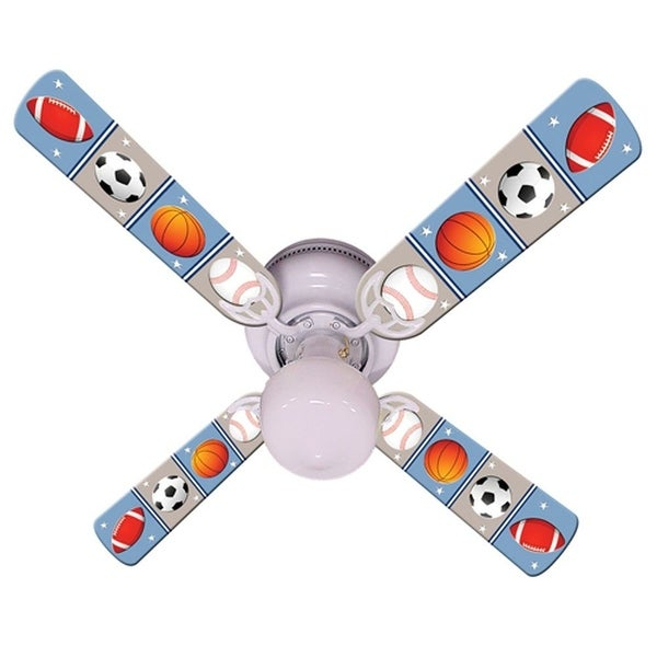 Sports Balls Print Blades 42in Ceiling Fan Light Kit - Multi