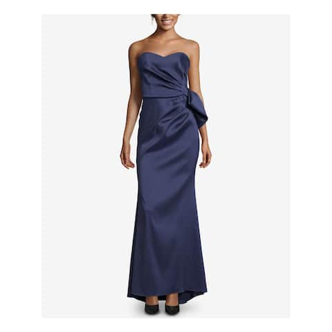 XSCAPE Womens Navy Bow Back Satin Gown Strapless Full-Length Evening Dress Plus Size: 10