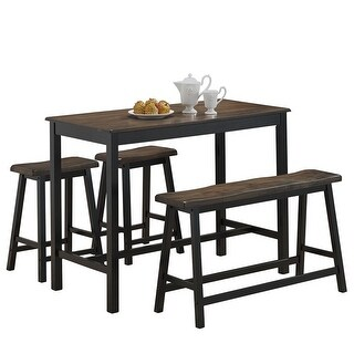 Costway 4 Pcs Solid Wood Counter Height Table Set w/ Height Bench & Two Saddle Stools - Grey