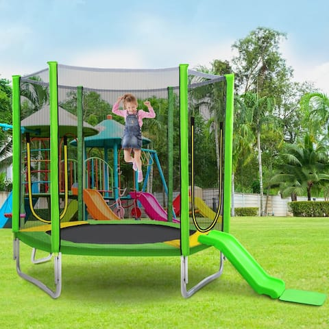 AOOLIVE rampoline 7 feet With Safety Net and Ladder Yellow and Green