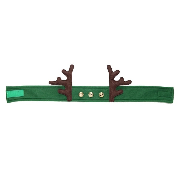 "24"" Green Adjustable Decorative Fleece Headband with Antlers and Bells"