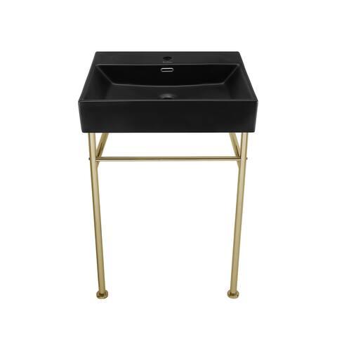 Claire 24 Ceramic Console Sink Matte Black Basin Gold Legs