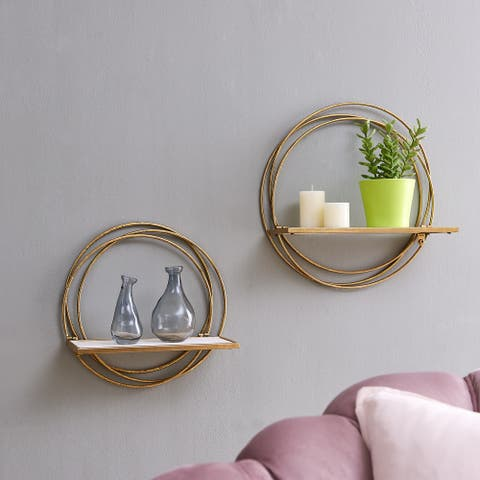 Golden Rings Floating Wall Shelves Set of 2
